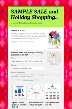 SAMPLE SALE and Holiday Shopping…