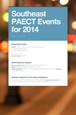Southeast PAECT Events for 2014