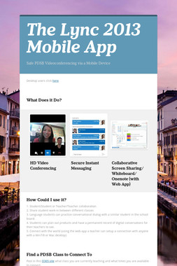 The Lync 2013 Mobile App
