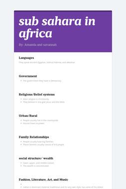 sub sahara in africa