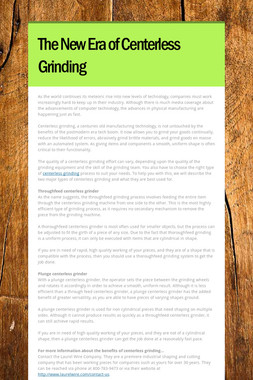 The New Era of Centerless Grinding