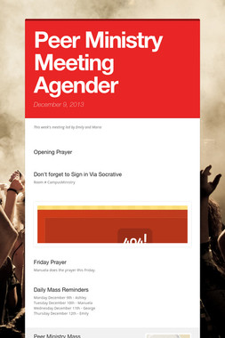 Peer Ministry Meeting Agender