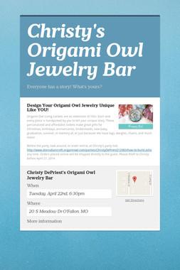 Christy's Origami Owl Jewelry Bar