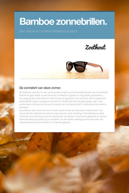 Bamboe zonnebrillen.