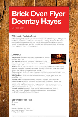 Brick Oven Flyer Deontay Hayes