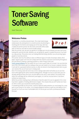 Toner Saving Software