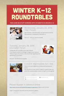 Winter K-12 Roundtables