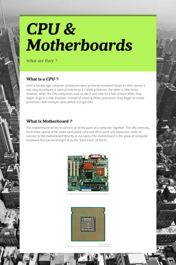 CPU & Motherboards