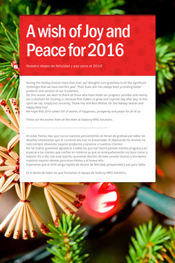 A wish of Joy and Peace for 2016
