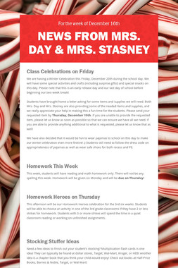 News from Mrs. Day & Mrs. Stasney