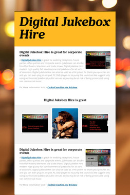 Digital Jukebox Hire