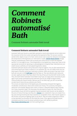 Comment Robinets automatisé Bath