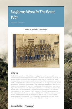 Uniforms Worn In The Great War