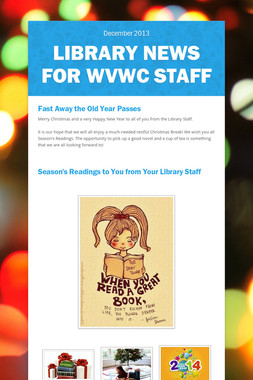 Library News for WVWC Staff