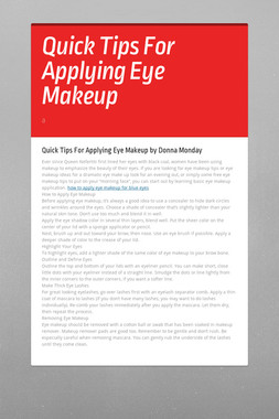 Quick Tips For Applying Eye Makeup