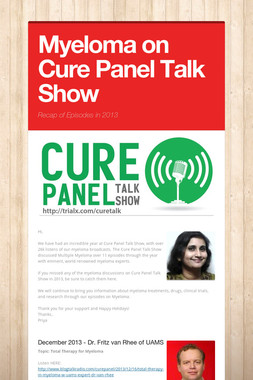 Myeloma on Cure Panel Talk Show