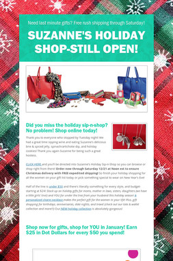 Suzanne's Holiday Shop-Still Open!