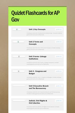 Quizlet Flashcards for AP Gov