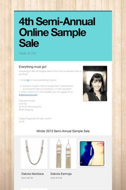 4th Semi-Annual Online Sample Sale