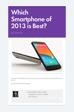 Which Smartphone of 2013 is Best?