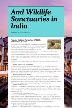 And Wildlife Sanctuaries in India