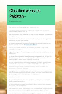 Classified websites Pakistan -