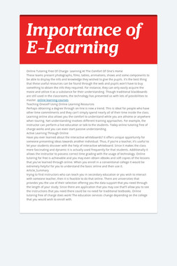 Importance of E-Learning