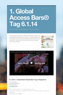 1. Global Access Bars® Tag 6.1.14