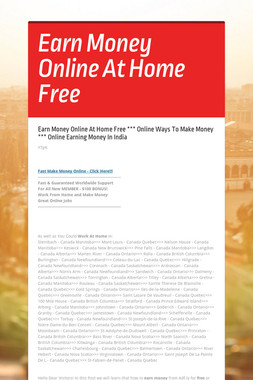 Earn Money Online At Home Free