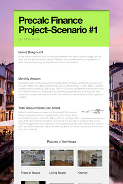 Precalc Finance Project–Scenario #1