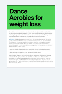 Dance Aerobics for weight loss