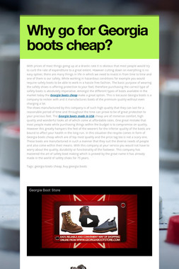 Why go for Georgia boots cheap?