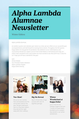 Alpha Lambda Alumnae Newsletter