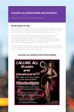 CALLING ALL DEVELOPERS AND MODELS!!