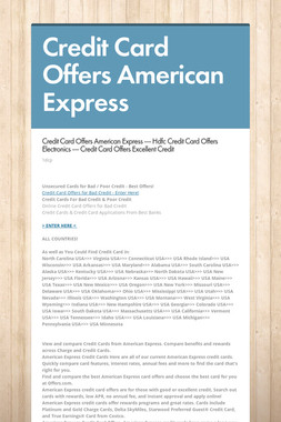 Credit Card Offers American Express