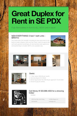 Great Duplex for Rent in SE PDX