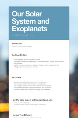 Our Solar System and Exoplanets