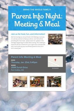 Parent Info Night: Meeting & Meal