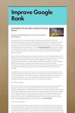 Improve Google Rank