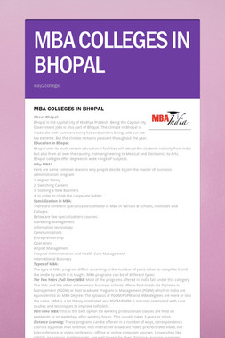 MBA COLLEGES IN BHOPAL