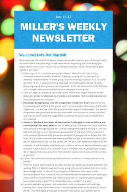 Miller's Weekly Newsletter