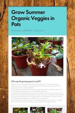 Grow Summer Organic Veggies in Pots