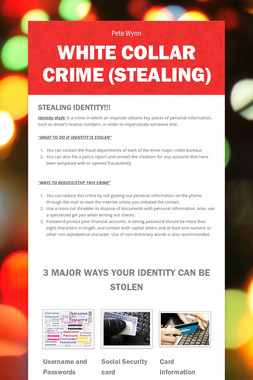 WHITE COLLAR CRIME (STEALING)