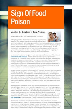 Sign Of Food Poison