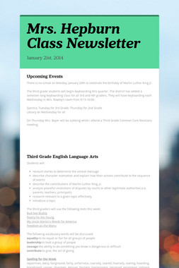 Mrs. Hepburn Class Newsletter