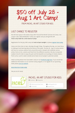 $50 off July 28 - Aug 1 Art Camp!