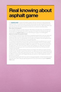 Real knowing about asphalt game