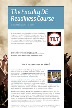 The Faculty DE Readiness Course