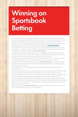 Winning on Sportsbook Betting