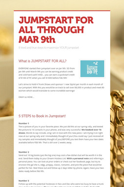 JUMPSTART FOR ALL THROUGH MAR 9th